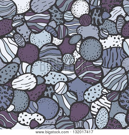 Sea stones pattern. Vector seamless pattern with doodle cobblestone. Hand drawn boulder. Background with grey blue white and violet colors.