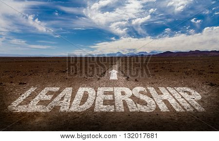 Leadership written on a pathway
