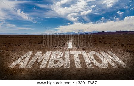 Ambition written on a pathway