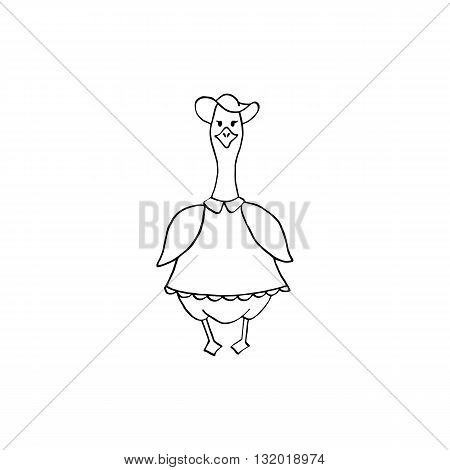 Cute fat goose lady in hand-drawing style. Black and white vector illustration.