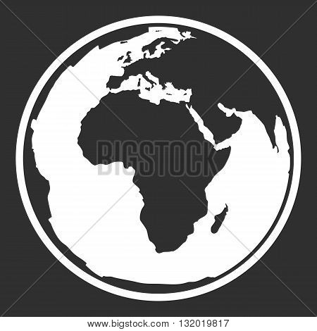Globe earth vector icon. Earth planet globe web and mobile icon. Contour white symbol of earth planet in africa view. Black and white vector illustration.