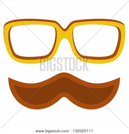 Hipster nerd glasses and stylish mustache isolated on white. Web Banner Vector Flat Design .Vector Mustache and Glasses Icon. Hipster creative design template illustration
