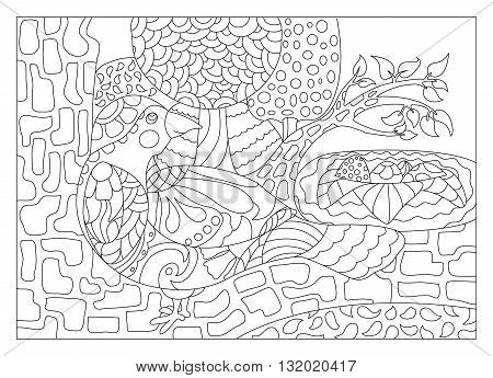Bird on tree with nest adult coloring page vector illustration