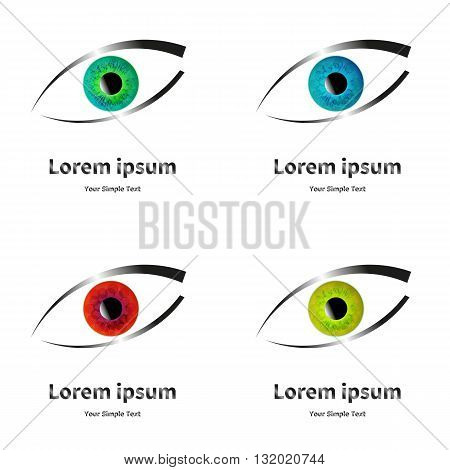Vector illustration of a badge with the eye. On an isolated white background.