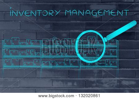 Products In A Warehouse & Magnifying Glass, Inventory Management