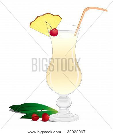 Cocktail Pina Colada with a slice of pineapple and a cherry on a white background