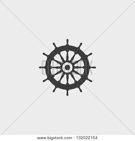 Rudder icon in a flat design in black color. Vector illustration eps10