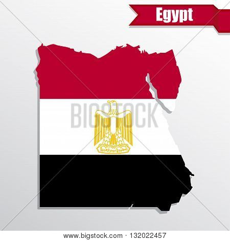 Egypt map with flag inside and ribbon