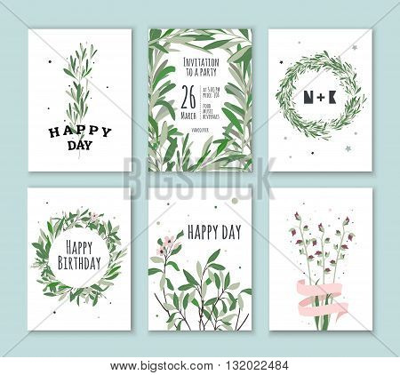 Set invitation with green plants. Cards for birthdays holidays parties. Wedding Invitations.