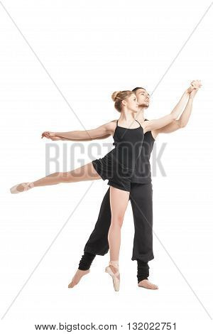 Ballet dancers in pose isolated over white background