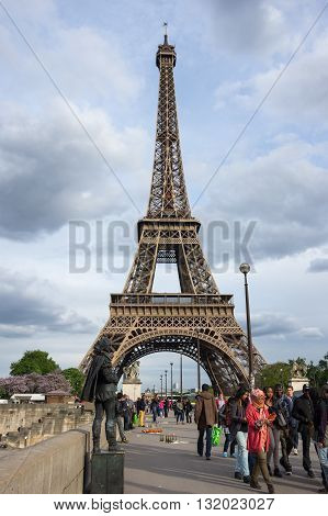 PARIS FRANCE - MAY 07 2015: View from the bridge at famous Tour Eiffel in Paris France