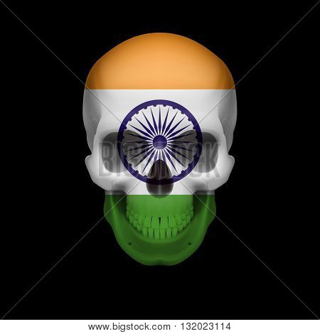Human skull with flag of India. Threat to national security war or dying out