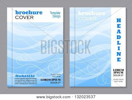 Modern vector templates for brochure cover in A4 size. Beautiful swirl pattern on blue waved background.
