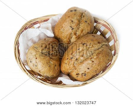 Oatmeal bun in a small basket on a white background