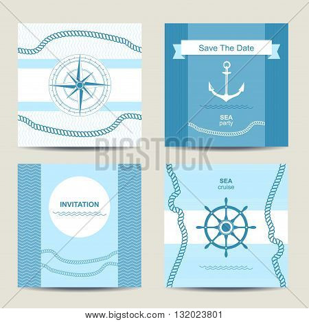 Set of four nautical invitation card template. Square cards. Vector illustration.
