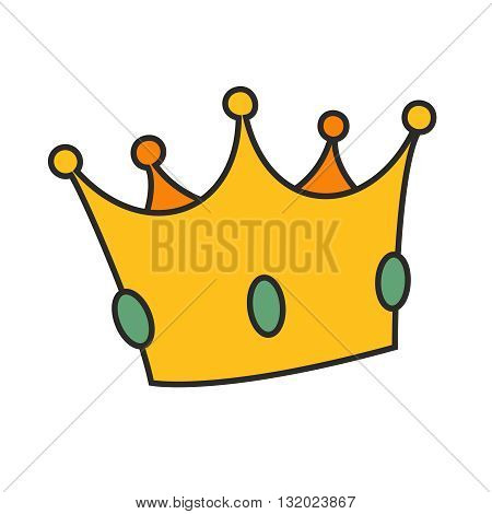 Vector golden crown isolated on white background
