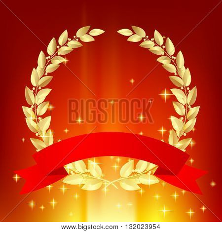 Gold laurel wreath with red ribbon on luminous sparkling background
