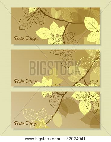 Set of horizontal banners. Brunch with abstract leaves on brown background. Vector illustration.