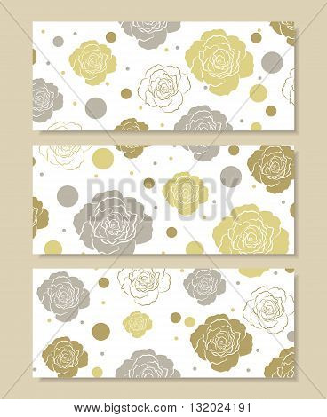 Set of horizontal banners. Floral pattern with colored roses and circles isolated on white background.