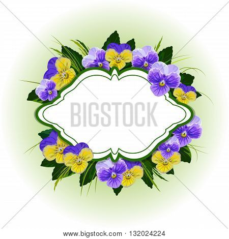 Floral vector background with beautiful pansies. Vintage frame with place for your text.