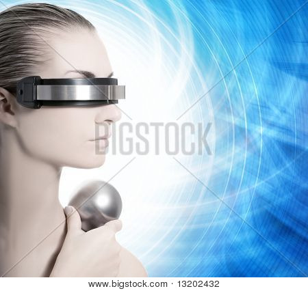 Beautiful cyber woman isolated over abstract blue background