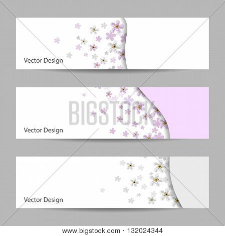 Set of horizontal banners with white and pink flowers. Vector illustration.