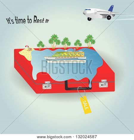 It's time to rest.Vector illustration cruise liner ocean