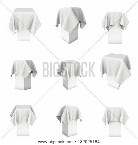Presentation pedestal covered with a white cloth 3d set. Place for award or prize cover by cloth. 3d render isolated on white.