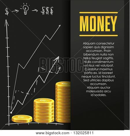 Money poster or banner design template with golden coins and copy space for text. Vector illustration. Money making. Bank deposit. Financial. Gold and black colors. Business finans vector background.