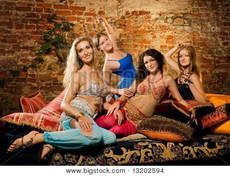 Group of beautiful women in harem