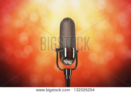 Silver microphone on color stage with limelight. 3D Rendering