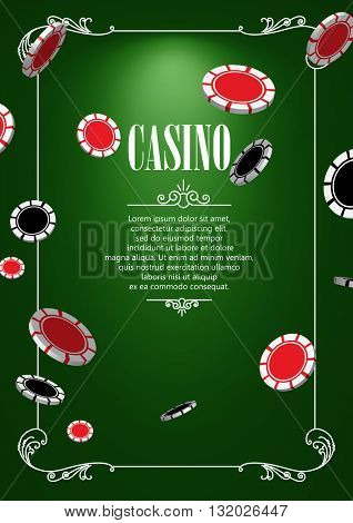 Casino Logo Poster Background or Flyer with Casino or Poker Chips. Banner with Casino Logo Badges. Game Cards on Green Canvas.  Casino Banner. Casino Games Gambling Template background.