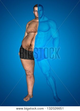 3D illustration of a concept or conceptual 3D fat overweight vs slim fit with muscles young man on diet on blue background