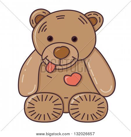 Teddy bear. Vector illustration. Isolated on white background