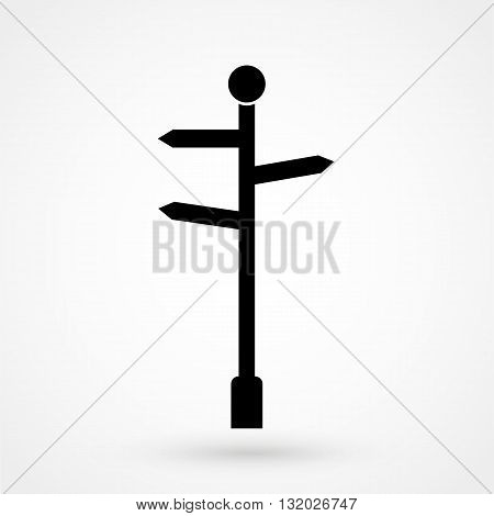 Signpost Icon Vector Black On White Background