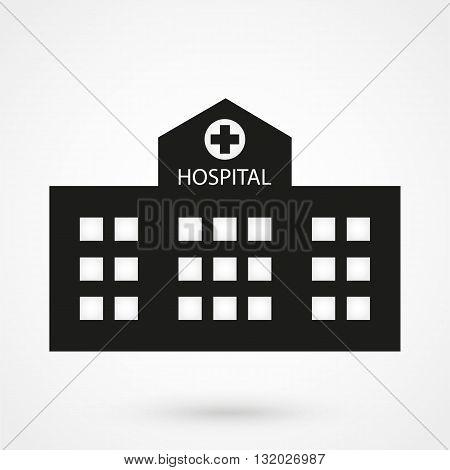 Hospital Icon Vector Black On White Background