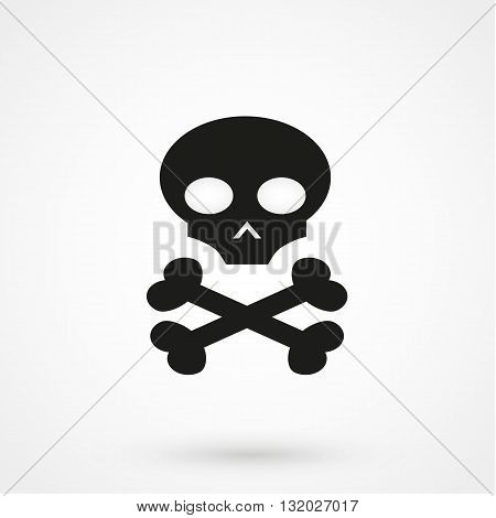 Skull Icon Vector Black On White Background