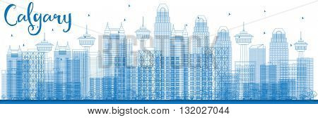 Outline Calgary Skyline with Blue Buildings. Vector Illustration. Business travel and tourism concept with modern buildings. Image for presentation, banner, placard and web site.