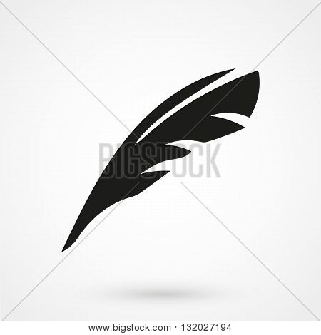 Feather Icon Vector Black On White Background