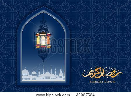 Ramadan greeting card with mosque window and arabic lamp. Ramadan Kareem calligraphy. Vector illustration. Translation : Ramadan Kareem.