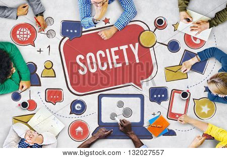 Society Social Media Network Connection Concept