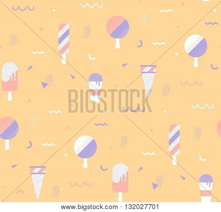 Bright yellow background with ice-cream and geometric elements. Memphis style lines and points. Template for cover website banner.