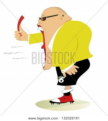 Referee . Angry referee shows a red card