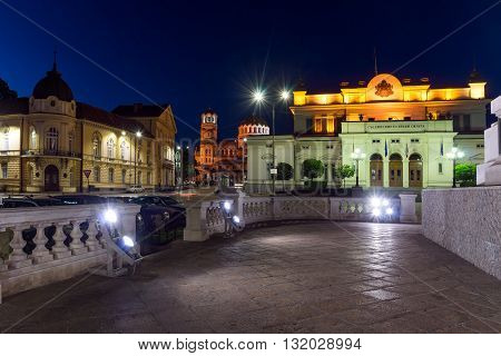 Night photo of National Assembly and Alexander Nevsky Cathedral in city of Sofia, Bulgaria