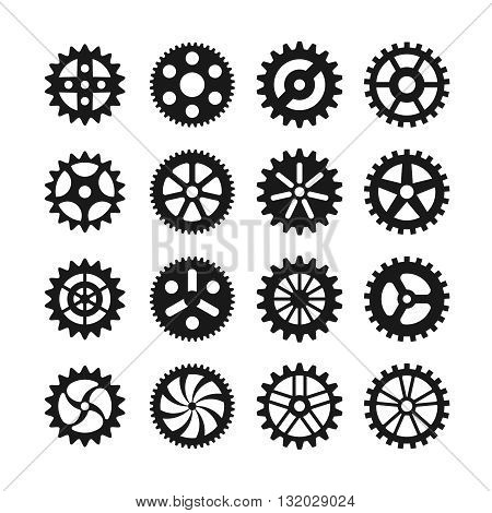 Gear wheels vector icons set. Gear wheel, machine gear wheel,  engineering gear wheel machinery illustration