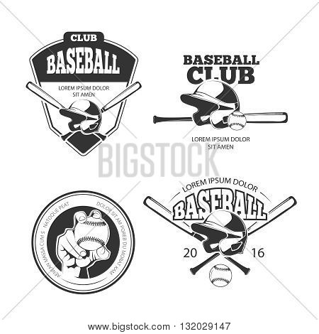 Baseball vector vintage emblems, labels, badges, logos set. Sport emblem baseball, badge baseball design, baseball label, baseball illustration