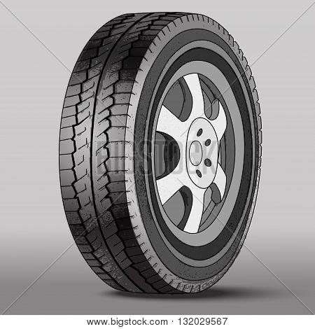 Vector Illustration Car Wheel with Disk Brake