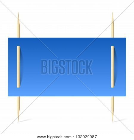 Blank banner with blue paper on toothpicks. Illustration on white background