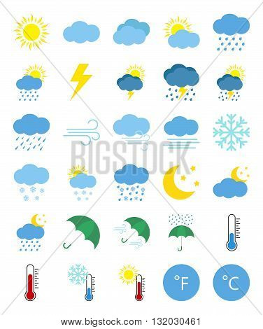 Weather forecast icons in flat style isolated on white background.