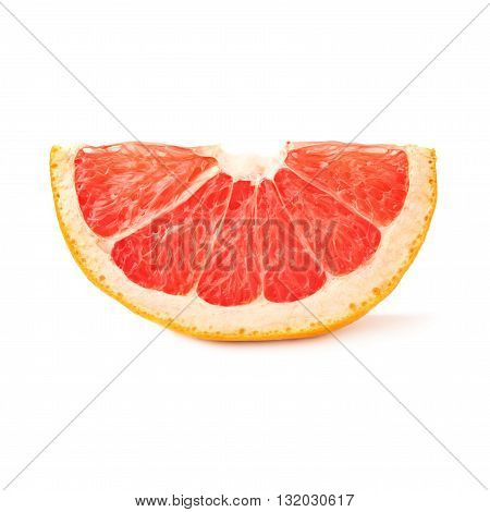 small slice section of grapefruit isolated over the white background